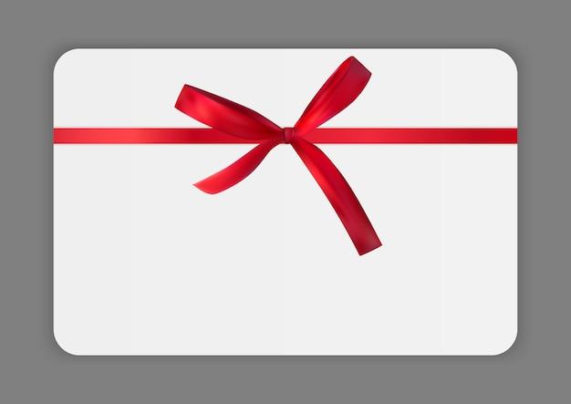Modelo de cartão de presente em branco com laço vermelho e fita