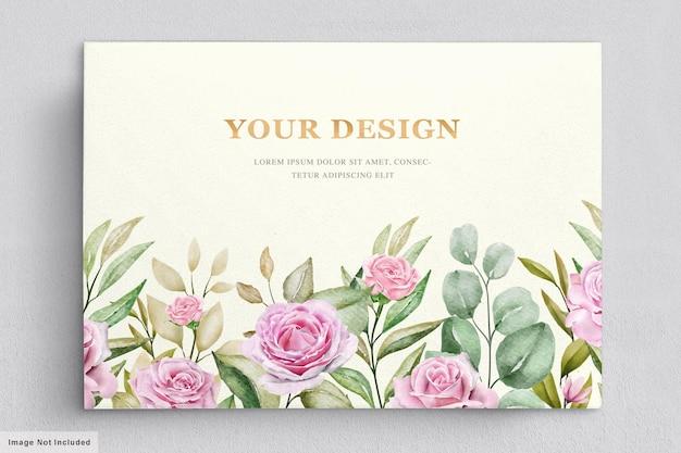 Modelo de cartão de primavera com rosas em aquarela