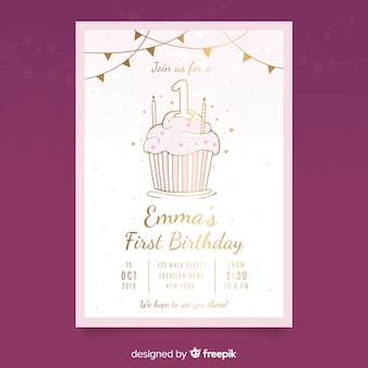 Modelo de cartão de primeiro aniversário cupcake dourado