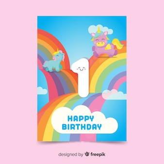 Modelo de cartão de primeiro aniversário de arco-íris