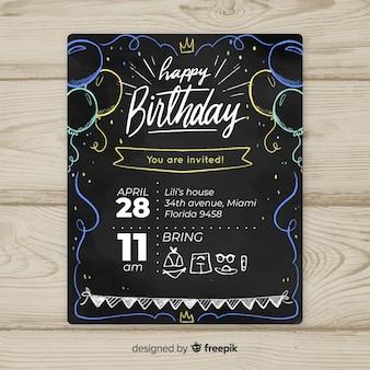 Modelo de cartão de primeiro aniversário de balões de quadro-negro
