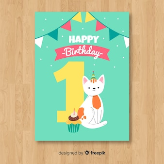Modelo de cartão de primeiro aniversário de gato liso