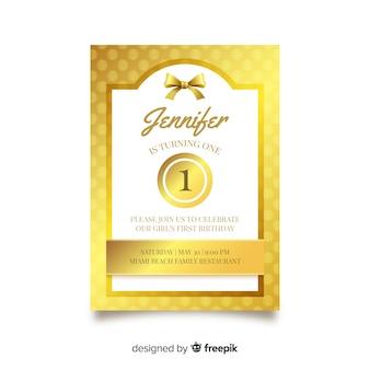 Modelo de cartão de primeiro aniversário de pontos dourados