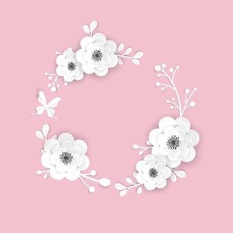 Modelo de cartão de quadro de flores de corte de papel. design decorativo com elementos florais de origami 3d para banner de primavera, folheto, cartaz. fundo na moda do casamento. ilustração vetorial