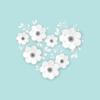 Modelo de cartão de quadro de flores de corte de papel. projeto decorativo com elementos florais de origami 3d para banner de primavera, folheto de venda de verão, cartaz. fundo na moda do casamento. ilustração vetorial