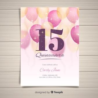 Modelo de cartão de quinceanera de balões espumantes