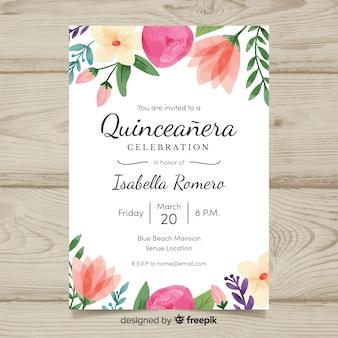 Modelo de cartão de quinceanera de flores em aquarela