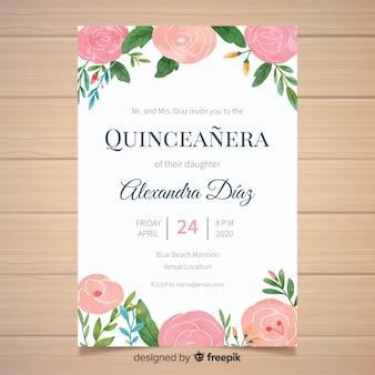 Modelo de cartão de quinceanera de flores pintados à mão
