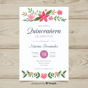 Modelo de cartão de quinceanera de ornamentos florais de pintados à mão