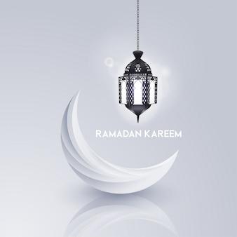 Modelo de cartão de ramadã kareem islâmico com padrão geomérico.