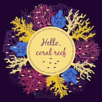 Modelo de cartão de recife de coral.