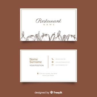 Modelo de cartão de restaurante desenhado mão realista