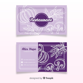 Modelo de cartão de restaurante desenhado mão