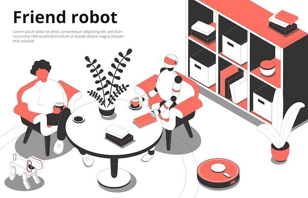 Modelo de cartão de robô amigo