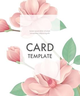 Modelo de cartão de saudação com flores cor de rosa e moldura transparente sobre fundo branco.