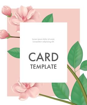 Modelo de cartão de saudação com flores de cerejeira no fundo rosa com moldura branca.
