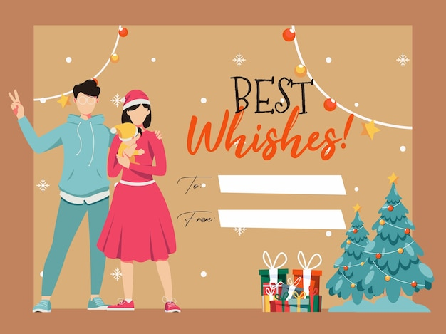 Modelo de cartão de saudação com ilustrações de desenhos animados de feliz natal e feliz ano novo com a família