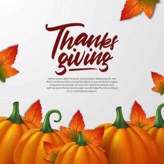 Modelo de cartão de saudação de abóbora realista 3d de ação de graças e folhas de bordo outono outono