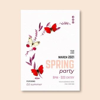 Modelo de cartão de saudação de primavera em aquarela