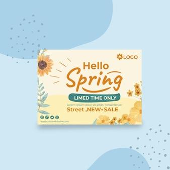 Modelo de cartão de saudação de primavera plana