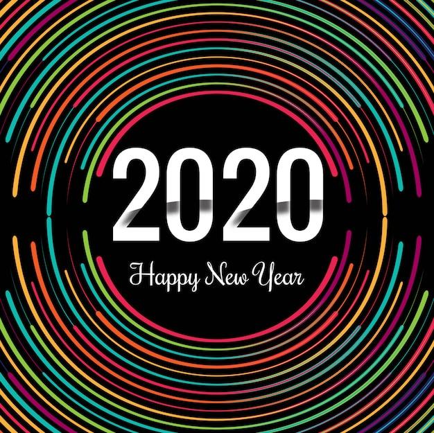 Modelo de cartão de saudação de texto criativo de ano novo 2020
