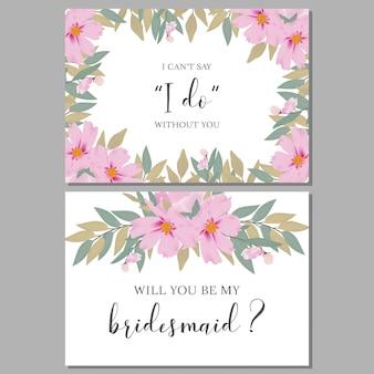 Modelo de cartão de saudação floral da dama de honra