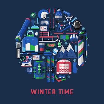 Modelo de cartão de tempo de inverno com equipamento de atividades de neve estilizado em círculo.