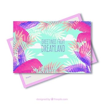 Modelo de cartão de verão aquarela colorida moderna