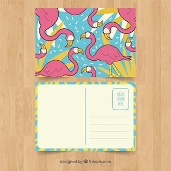 Modelo de cartão de verão desenhada mão com flamingos