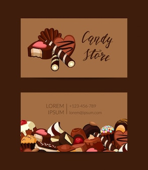 Modelo de cartão de vetor com doces doces de chocolate dos desenhos animados para ilustração de loja de pastelaria