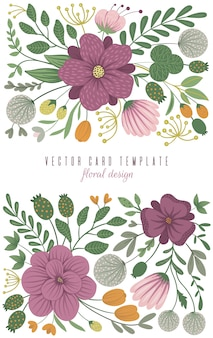 Modelo de cartão de vetor com elementos florais. design com flores