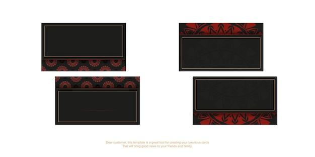 Modelo de cartão de vetor com lugar para o seu texto e ornamento vintage. modelo para imprimir cartões de visita de design em preto com padrões de vermelho gregos.