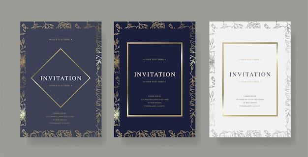 Modelo de cartão de vetor convite vintage