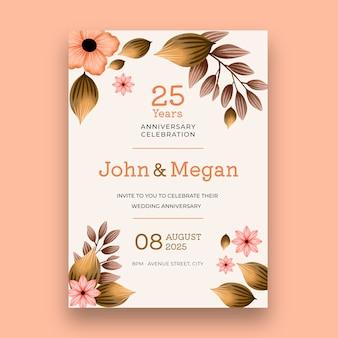 Modelo de cartão de vigésimo quinto aniversário de casamento
