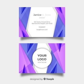 Modelo de cartão de visita abstrata com formas azuis e roxas