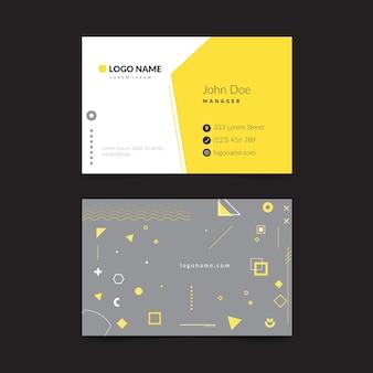 Modelo de cartão de visita abstrato amarelo e cinza