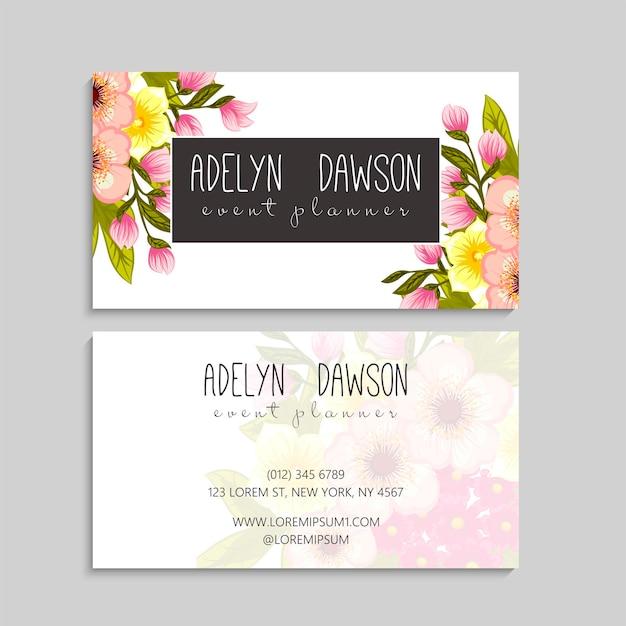 Modelo de cartão de visita abstrato com flores cor de rosa