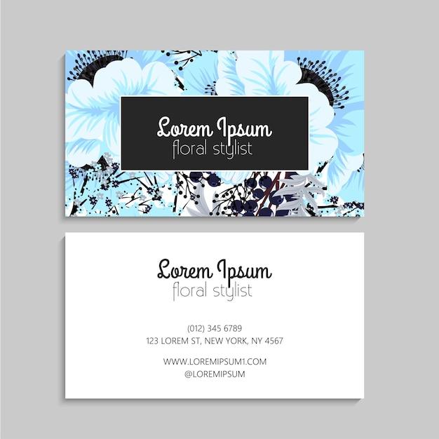 Modelo de cartão de visita abstrato com flores