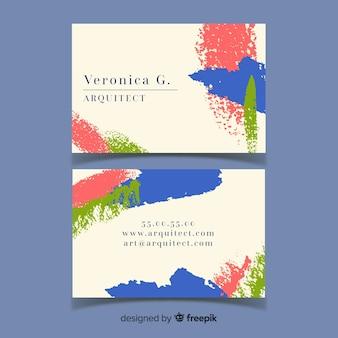 Modelo de cartão de visita abstrato pintado à mão