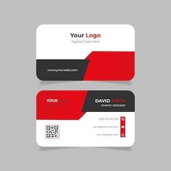 Modelo de cartão de visita abstrato vermelho e preto