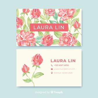 Modelo de cartão de visita - aquarela floral