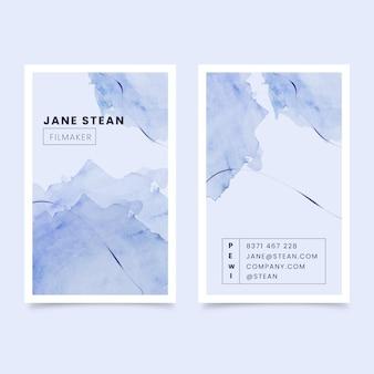 Modelo de cartão de visita azul aquarela
