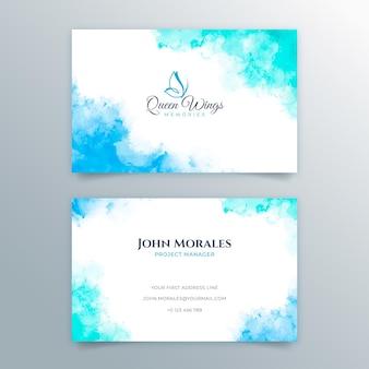 Modelo de cartão de visita azul mergulhado em tinta