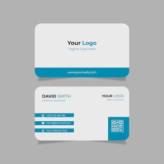 Modelo de cartão de visita azul simples e limpo