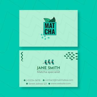 Modelo de cartão de visita chá matcha