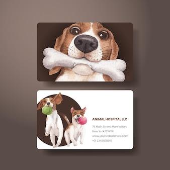 Modelo de cartão de visita com conceito de cachorro fofo, estilo aquarela