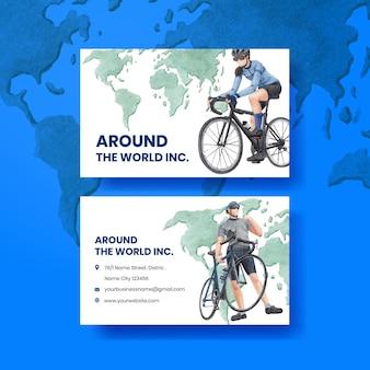 Modelo de cartão de visita com conceito de dia mundial da bicicleta, estilo aquarela