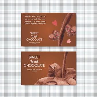 Modelo de cartão de visita com conceito do dia mundial do chocolate