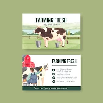 Modelo de cartão de visita com conceito do dia nacional do fazendeiro, estilo aquarela