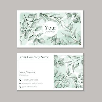 Modelo de cartão de visita com folhas em aquarela